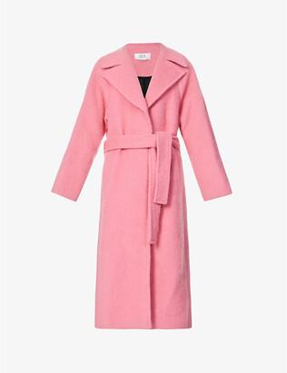 VVB Belted brushed wool-blend coat