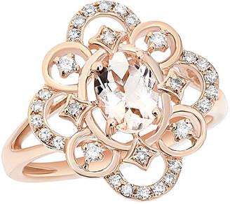 Diana M Fine Jewelry 14K Rose Gold 0.89 Ct. Tw. Diamond & Marganet Ring