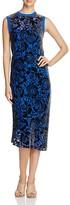 DKNY Floral Velvet Burnout Midi Dress