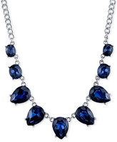 2028 Silver-Tone Blue Crystal Collar Necklace