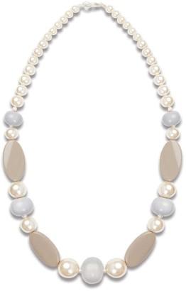 Elegant Pearl & Beige Statement Necklace