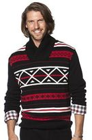 Chaps Big & Tall Classic-Fit Patterned Shawl-Collar Sweater