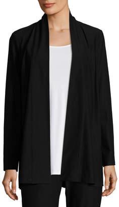 Eileen Fisher Lightweight Washable Stretch-Crepe Topper Jacket/Cardi, Black