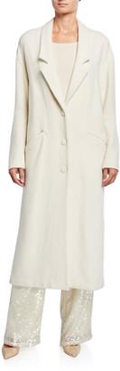 Sally LaPointe Wool-Boucle Drop-Collar Coat