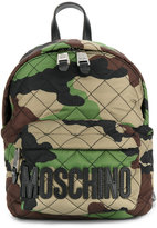 Moschino camouflage logo plaque backpack - women - Cotton - One Size