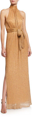 Halston Ruched Metallic Jersey Halter Gown