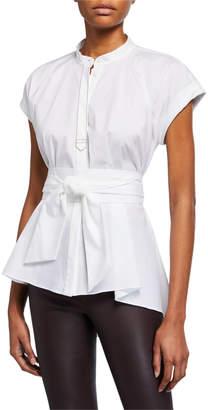 Brunello Cucinelli High-Low Tie-Waist Shirt