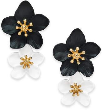 INC International Concepts Inc Gold-Tone Double Flower Drop Earrings