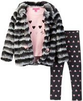 Betsey Johnson Faux Fur Jacket, Tee, & Legging Set (Toddler Girls)