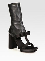 Prada Satin & Leather T-Strap Ankle Boots