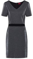 HUGO V-neck dress in sparkly jersey with in-seam zip