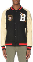 Billionaire Boys Club Embroidered-detail Wool-blend And Faux-leather Varsity Jacket