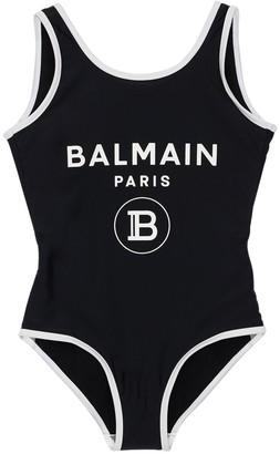 Balmain Logo Printed Lycra One Piece Swimsuit