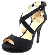 Material Girl Helenah Women Open Toe Synthetic Black Platform Heel.