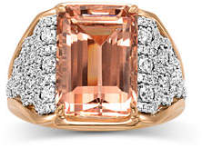 Frederic Sage 18K Emerald-Cut Morganite & Diamond Ring, Size 7