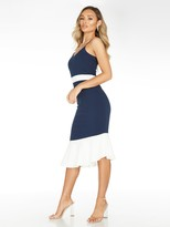 Quiz Scuba Crepe Contrast AsymmetricFrill Midi Dress - Navy/Cream