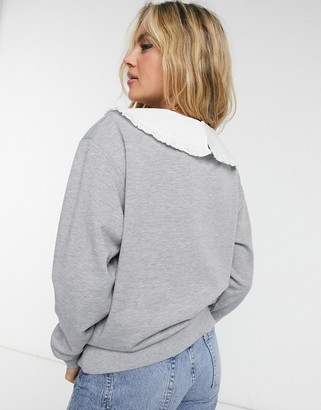 New Look collar detail sweat in mid grey