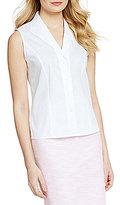 Calvin Klein Petite Wrinkle-Free Pinpoint Oxford Sleeveless Blouse
