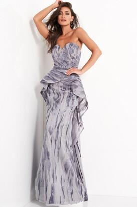 Jovani Strapless Embellished Peplum Evening Gown