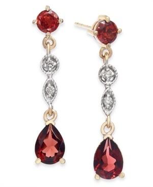 Macy's Garnet (1-3/4 ct. t.w.) & Diamond Accent Drop Earrings in 14k Gold