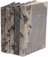 One Kings Lane S/5 Metallic Hide Books, Gray