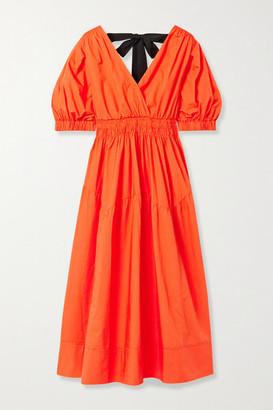 Self-Portrait Shirred Cotton-poplin Midi Dress - Bright orange