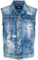 DSQUARED2 distressed denim waistcoat