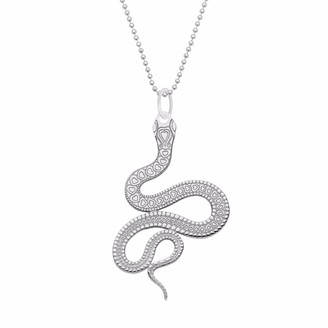 Cartergore Large Silver Snake Pendant Necklace
