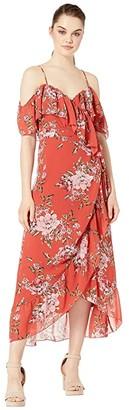 WAYF Nanette Ruffle Wrap Midi Dress (Red Floral) Women's Dress