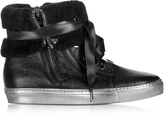 Loriblu Cuffed Black Leather Sneaker