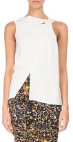 Victoria Beckham Sleeveless Knot-Front Asymmetric Top, Ivory