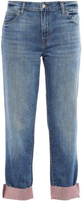 J Brand Glitter-embellished Faded Boyfriend Jeans