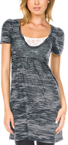 Charcoal & Silver Burnout Scoop Neck Tunic