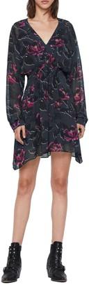 AllSaints Nichola Rosalyn Floral Long Sleeve Asymmetrical Hem Dress