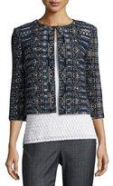 St. John Kian Tapestry-Knit 3/4-Sleeve Jacket, Blue Pattern