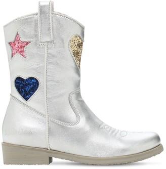 Billieblush Leather & Glitter Boots