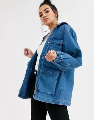 Asos Design DESIGN denim oversized patch pocket jacket-Blue