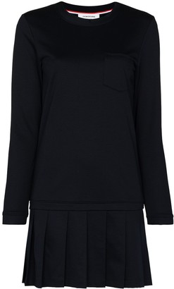 Thom Browne Loopback Jersey Drop Waist Pleated Mini Dress