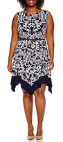 Tiana B Sleeveless Belted Handkerchief Fit-and-Flare Dress - Plus
