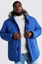 BoohoomanBoohooMAN Mens Blue Big & Tall Faux Fur Hooded Arctic Parka, Blue
