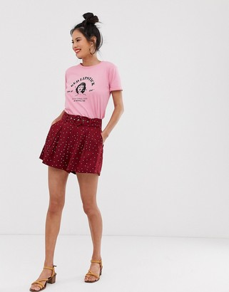 Moon River polka dot belted shorts-Red