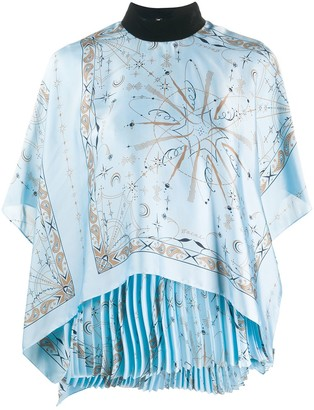 Sacai Pleated Scarf Drape Blouse