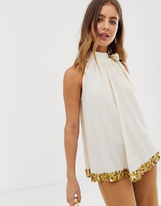 ASOS DESIGN halter top with embellished hem