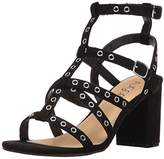 Sugar Women's Rock N Roll Faux Suede Block Heel Dress Sandal with Studs