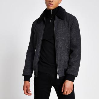River Island Grey borg collar zip front jacket