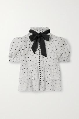 Alice + Olivia - Vicky Tie-neck Polka-dot Silk-blend Blouse - White