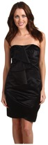 ABS by Allen Schwartz Strapless Bustier Dress w/Cascade Detail (Black) - Apparel
