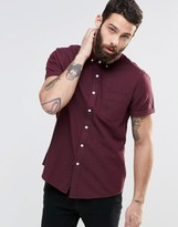 Asos Twill Shirt With Neps In Burgundy And Long Sleeve