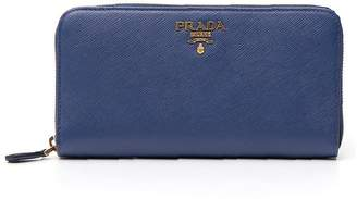 Prada Continental Logo Zip Around Wallet