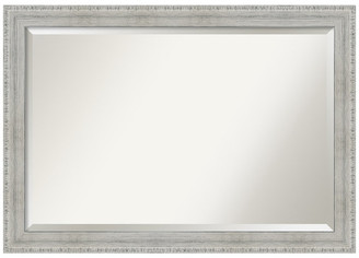 "Amanti Art Bathroom Vanity Mirror Rustic White Wash Wood, 40""x28"""